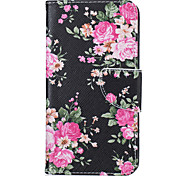 For LG Case Wallet / Card Holder / with Stand Case Full Body Case Flower Hard PU Leather LG LG K10 / LG K8 / LG K7