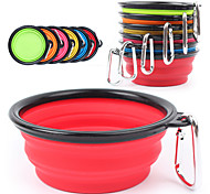 Dog Bowls & Water Bottles Pet Bowls & Feeding Portable / Foldable Red / Black / Green / Blue / Pink / Yellow / Purple / Orange Silicone