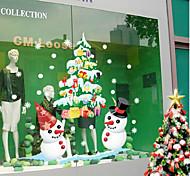 Рождественский дисплей витрина белого снеговика цвет Стены стикеры 50 * 70см