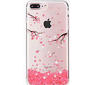 Para Funda iPhone 7 / Funda iPhone 7 Plus Diamantes Sintéticos / Transparente Funda Cubierta Trasera Funda Flor Suave TPU AppleiPhone 7