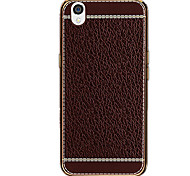For Plating Case Back Cover Case Solid Color Soft PU Leather OPPO OPPO R9 / OPPO R9 Plus