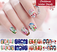 12pcs/pack Christmas Series Water Transfer Nail Stickers Decals Full Cover Nail