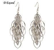Leaf-shaped Diamond Inset Silver Alloy Drop Hook Earing For Women