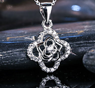 Women's Jewelry S925 Silver Zircon Charm Clover-shaped Pendant for Women