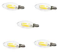 5pcs C35 6W E14 LED Filament Bulbs 6 COB 550LM Warm/ Cool White Candle Light Lamp(AC220-240V)