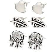 European 3pairs/set Elephant Leaf Heart Shape Earrrings Stud Earrings for Women Fashion Jewelry Best Gift