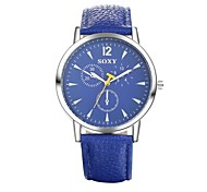Men's Dress Watch Fashion Watch Water Resistant / Water Proof Quartz Leather Band Casual Black White Blue