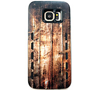 For Samsung Galaxy S7 edge  S7 Anti-Drop Type Vertical Wood Grain Pattern Rubber Combo Phone Case