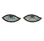 New Fashion Colorful Rhinestone Eye Shape Stud Earrings