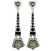 Ethnic Style Geometric Rhinestone Long Drop Earrings for Lady