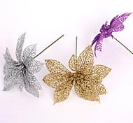 поддельные искусственные пластиковые рождественские украшения 15см выдолбить рождества цветок рождества цветок украшения кулон 6colors
