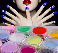 12 Kinds Of Color/SET  Nail Art Decoration Crystal Bright Carved Powder