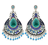 Tibetan Design Colorful Rhinestone Big Chandelier Earrings