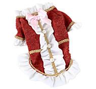 Perros Camiseta Rojo / Gris Ropa para Perro Invierno / Primavera/Otoño Un Color Mantiene abrigado