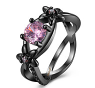 Top Quality Loving Heart Crystal Hollow Flowers Style Pink Cubic Zirconia Engagement Rings Women Fashion Wedding Jewelry