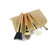 4 Makeup Brush Set Goat Hair Travel Portable Wood Face Eye Others
