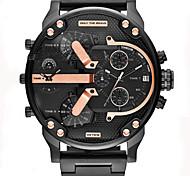 Мужской Армейские часы Нарядные часы Модные часы Наручные часы Календарь С двумя часовыми поясами Панк Кварцевый Кожа ГруппаВинтаж Cool