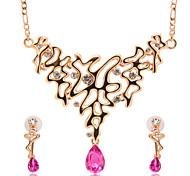 Schmuck 1 Halskette 1 Paar Ohrringe Imitation Rubin Hochzeit Party Alltag 1 Set Damen Goldfarben Hochzeitsgeschenke