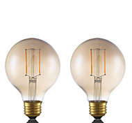 2W E26 LED Filament Bulbs G25 2 COB 180 lm Amber Dimmable 120V 2 pcs