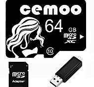 CEMOO Original Beauty Series 64GB Micro SD TF Card Class 10  with SD SDHC Adapter and Multi-function OTG USB Card Reader