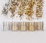 1 Box 10ml Mixed Nail Art Glitter Powder Champagne Gold Silver Sequins Super Makeup Glitter Nail Powder Set