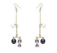 Pearl drops long Zircon Earrings