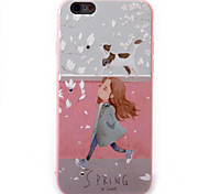 For iPhone 6S 6plus Case Cover Girl Pattern Diamond Relief TPU  Acrylic Material Phone Case