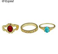 3Pcs/Set Noble Gold Retro Patterns Plated Alloy Acrylic Ring Set for Women RG150188