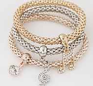 Women's Charm Bracelet Rhinestone Simulated Diamond Alloy Simple Style Fashion Music Notes Rainbow Jewelry 1set