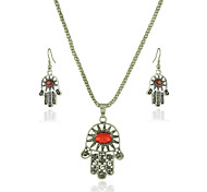 Jewelry Set Crystal Carved Flower Yellow Red Green Blue Party Halloween Daily Casual 1set 1 Necklace 1 Pair of Earrings Wedding Gifts