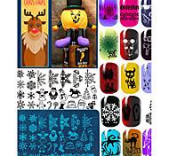 10pcs Weihnachtsthema Nagel Halloween-Kunst-Stempel Spitze DIY Nagel christma Druck blau filmtemplate Bildplatte geboren recht