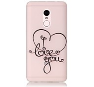 For Glow in the Dark / Translucent Case Back Cover Case I Love You Soft TPU Xiaomi Redmi Note 4