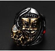 Муж. Кольцо Бижутерия Панк европейский бижутерия Титановая сталь В форме черепа Бижутерия Назначение Свадьба Для вечеринок Повседневные
