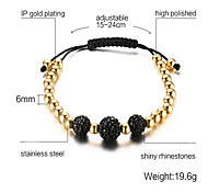 Women's Strand Bracelet Jewelry Gold Gold Plated Simulated Diamond Fashion Adjustable White Black Red Jewelry 1pc