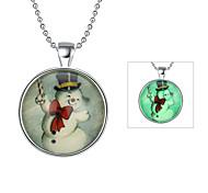 Fashion Luminous Christmas Gift Cute Snowman Luminous Pendant Necklace