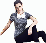 Running T-shirt Women's Short Sleeve Breathable Elastane Sports Wear Outdoor clothing Stripe S / M / L