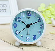Alarm Clock with Matel Case In Blue Color Silent Movment Night Light Mini Size