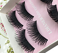 Eyelashes lash Full Strip Lashes Eyes Thick Lifted lashes / Volumized Handmade Fiber Black Band 0.10mm 15mm