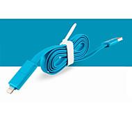 2 в 1 USB для 8-контактный / MicroUSB зарядки синхронизации данных плоский кабель для iPhone5 / 5S / 6/6 + / Samsung 1м 3.3ft