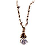Feminino Colares com Pendentes Cristal Formato de Coração Zircão Zircônia Cubica Imitações de Diamante LigaCom Logotipo Amor Estilo