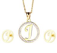Damen Schmuckset Strass Erste Schmuck Edelstahl vergoldet 1 Halskette 1 Paar Ohrringe Für Party Alltag Normal Hochzeitsgeschenke