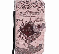 For Motorola G4 Play G4 Case Cover Castle Painted Lanyard PU Phone Case