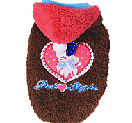 Dog Coat Pink / Coffee Dog Clothes Winter / Spring/Fall Hearts Keep Warm