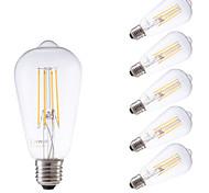 4W E26/E27 LED лампы накаливания ST58 4 COB 450 lm Тёплый белый Регулируемая / Декоративная AC 220-240 V 6 шт.