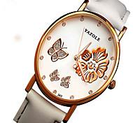 YAZOLE Luminous Waterproof Butterfly Flowers Wedding Leisure Lady Women Leather Quartz Watch WristWatch