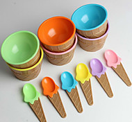 Children's Plastic Ice Cream Bowls Spoons Set Durable ICE Cream CUP (Random Color)