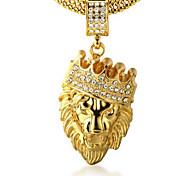 Муж. Ожерелья с подвесками Стразы В форме короны В форме животных Лев Золотистый Искусственный бриллиант 18K золото Сплав Rock По заказу