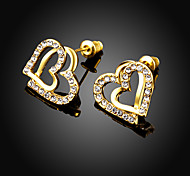 Earrings Alloy Zircon Simulated Diamond Gold Jewelry Wedding Party Halloween Daily Casual Sports Valentine 1 pair