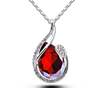 Women's Pendant Necklaces Crystal Crystal Simulated Diamond Circle Drop Unique Design Fashion White Purple Red Green Jewelry Daily Casual