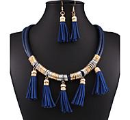 Fashion all-match multi-layer leather fringed jewelry set 0248#